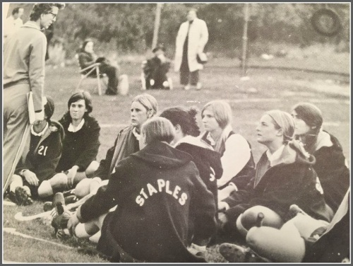 Jinny Parker coaching field hockey in 1970. The Staples High School field is now named for her.