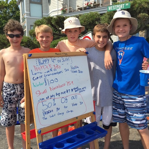 These guys -- Sm Seideman, Graham Day, Lorenzo Rinaldi, Chris Chamberlin and Kyle Chamberlin -- set up a stand on Soundview Drive. They sold food, drinks, necklaces and more -- and ran a raffle. Part of the proceeds went to the Hole in the Wall Gang Camp. That's the American spirit!