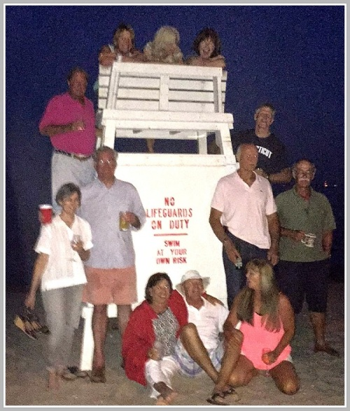 After a lobster dinner, the former guards wandered over to Compo for a nighttime group shot.