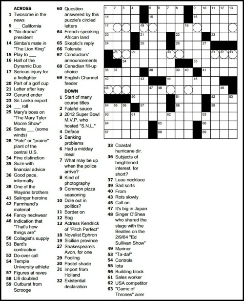 Today's puzzle, by Ryan Milligan. (Copyright/New York Times)