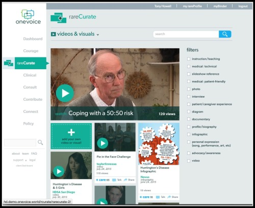 A screen shot from the onevoice platform.