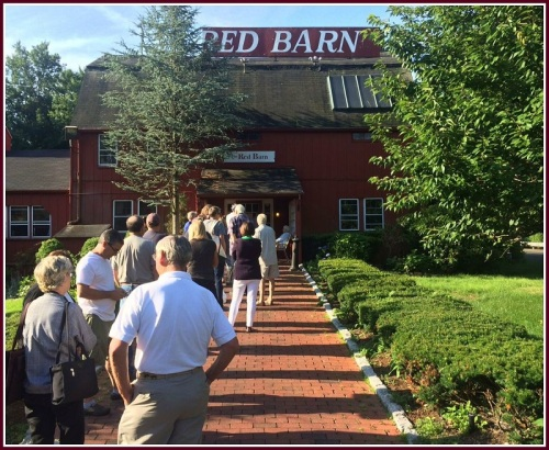 Lining up for a sale of Red Barn items and artifacts, last June.