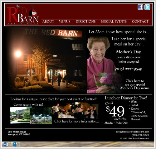 The out-of-date (and strangely dark) Red Barn website.