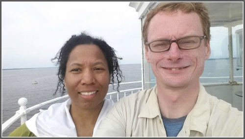 Susan and Aaron Donovan, standing at the top of Execution Rocks Lighthouse.