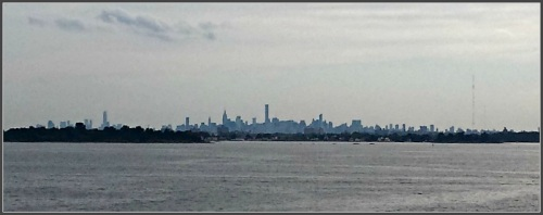 The Manhattan skyline, as seen from the top of the lighthouse.