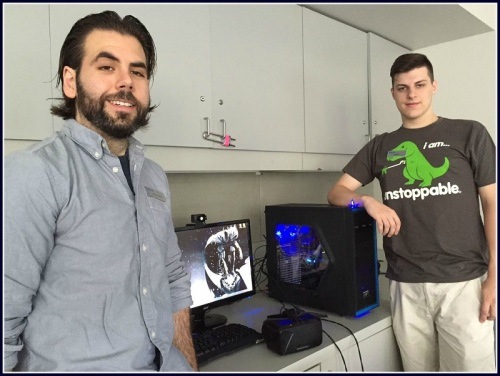 Alex Giannini (left), Nate Allen, the Oculus Rift headset and computer.
