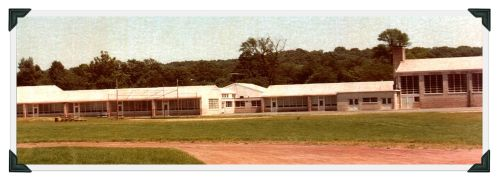 The rear view of Coleytown Elementary School, before expansion and modernization.