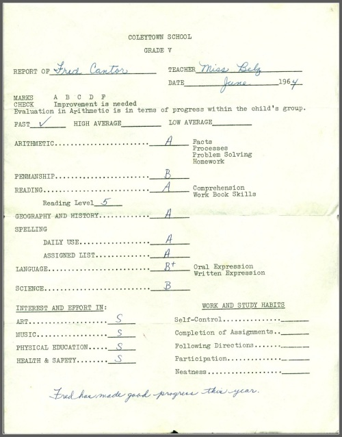 Fred Cantor's report card.