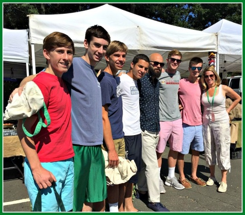 Chef Luke Lampanelli (5th from left) joined Staples soccer players Chris Andrews, Max Hammer, Tyler Wright, Noah Schwaeber, Daniel Brill and Aidan Wisher, plus Westport Farmers' Market director Lori Cochran. Luke and the athletes are shopping for, and preparing, a meal for the Gillespie Center.