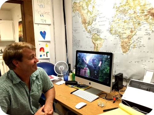 A world map inspires Richard Wiese in his Westport office.