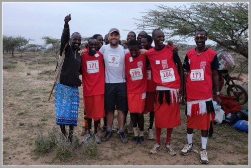 Tyler Hicks (#9) celebrating after the Maasai Marathon. (Photo courtesy of Darcy Hicks)