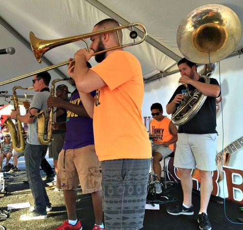 The Levitt Pavilion concerts were sold out. But a brass band played for everyone else in the Westport Library parking lot.