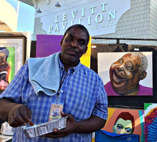 Dane Tilghman came from Pennsylvania to show his blues-infused artwork.