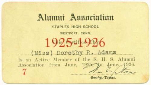 Dorothy Adams' alumni card.