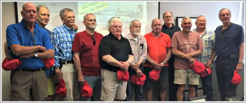 xxx former Downshifters gathered at the Westport Library today.
