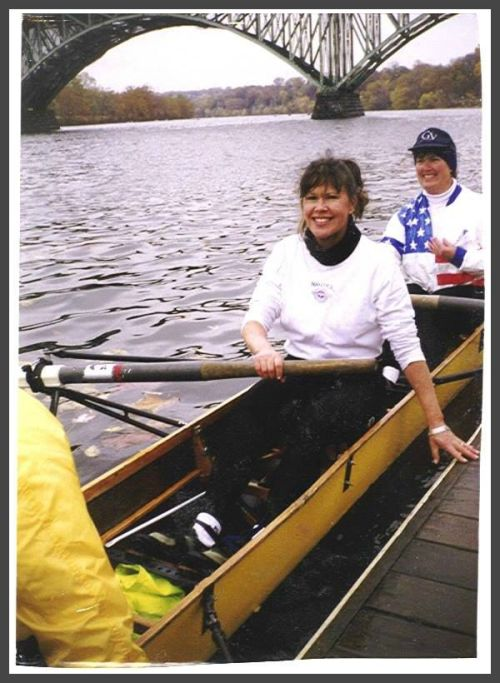Ginger Katz (front) and Anne Faber, years ago on the Schuylkill River.