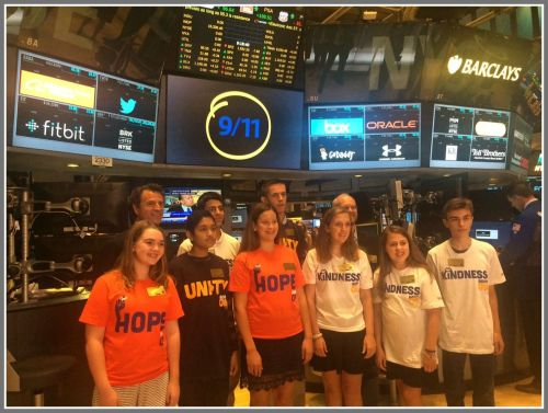Hillary O'Neill (front row, far left) and other 14-year-olds born on September 11, 2001, at the New York Stock Exchange this morning.