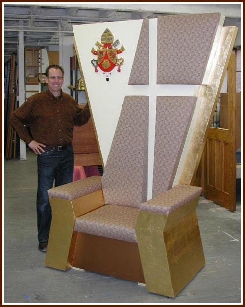 Larry Hoy, with one of his previous papal thrones.