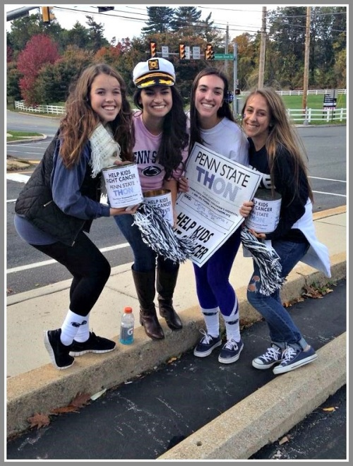 "A typical Penn State ""THON,"" last year. Katie Seel (3rd from left) will be joining Taylor Harrington in Westport this weekend."