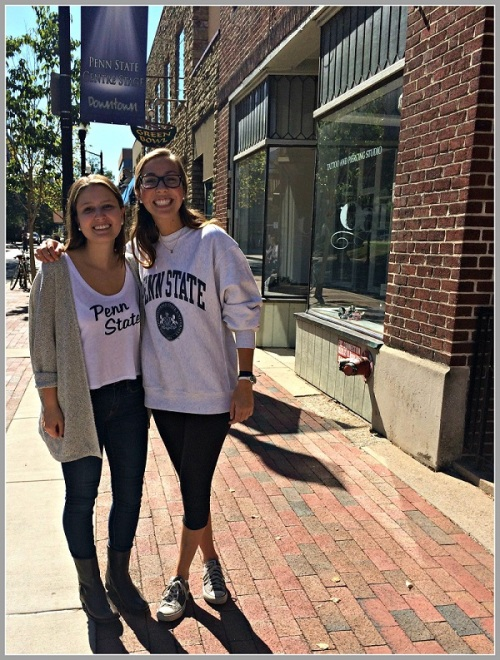 "Taylor Harrington (left) with fellow 1st-year student Lucy Mester. Both will be ""canning"" in Westport this weekend."