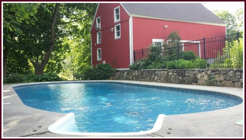 The barn and pool.