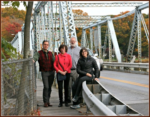 The petitioners met yesterday at the Bridge Street Bridge. From Left: Morley Boyd, Helen Garten, John Suggs, Wendy Crowther. (Photo/Wendy Crowther)