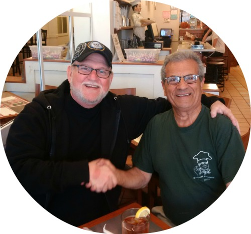 Kevin O'Brien (left) and Westport Pizzeria owner Mel Mioli. (Photo/Jack Whittle)