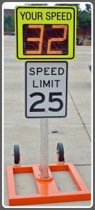 A typical mobile speed sign.