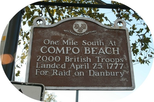 A historic plaque stands at the Post Road/South Compo intersection -- the start of the proposed 1.2-mile Scenic Highway. (Photo/Wendy Crowther)