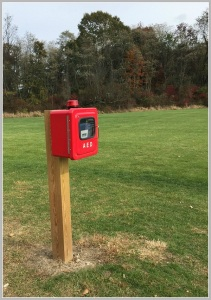 An AED on Wilton's Kristine Lilly Field. Similar devices will soon be placed at all Westport athletic fields.