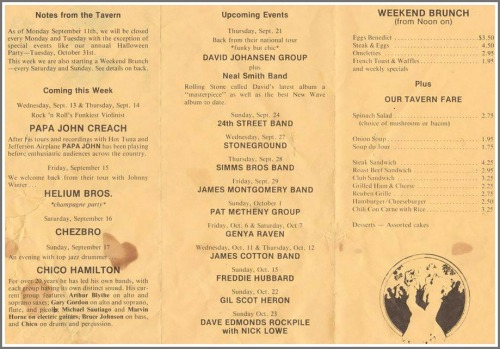 This undated menu from Players Tavern mentions upcoming gigs by Papa John Creach, James Montgomery, Pat Metheny , James Cotton, Gil Scot Heron, Dave Edmonds, Nick Lowe -- and the Helium Brothers.