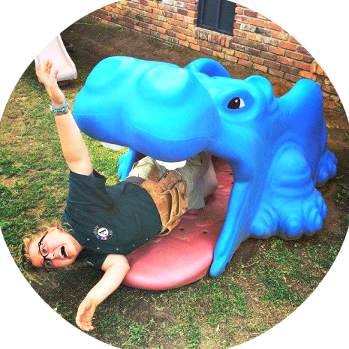 AmeriCorps NCCC is not all about backbreaking work. Nellie got eaten by this hippo, while helping renovate a Head Start playground in Idabel, Oklahoma.