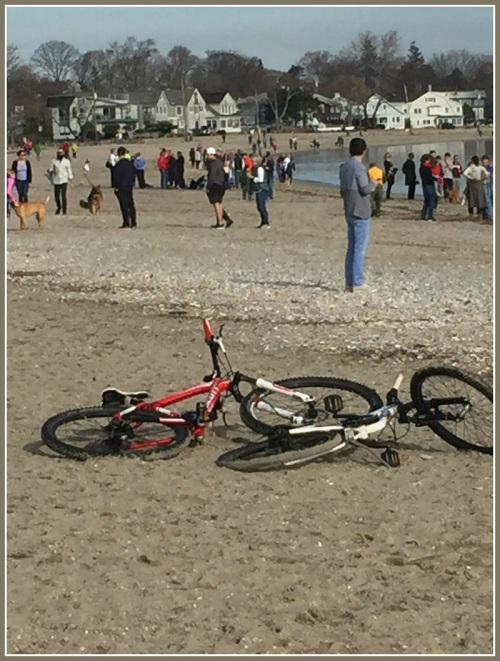 Taking the new bike for a test run at the beach. Watch out for all the people! (Photo/Chip Stephens)