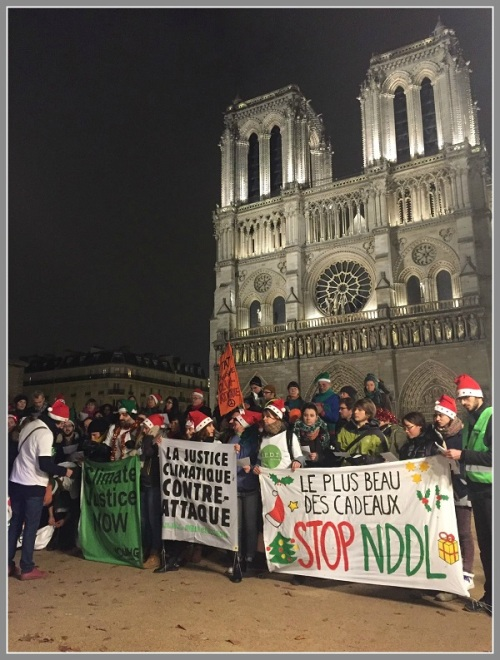 There were plenty of opinions in Paris. These protesters gathered otuside Notre Dame.