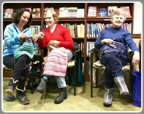 Diane Lowman, Anne Faber and Harriet Vandis, hard at work. Not pictured: Ellie Herman.