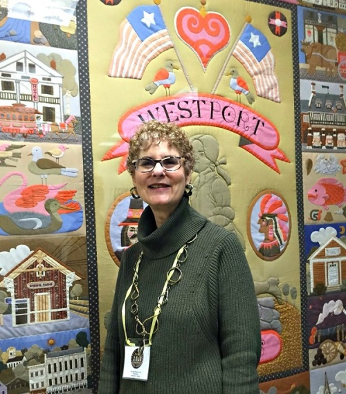 Barbara Pearson-Rac -- shown here at Town Hall -- is the mastermind behind Westport's First Night.