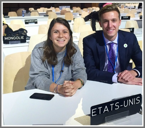 Taylor McNair and a fellow Emory University student, at the Paris climate change conference.