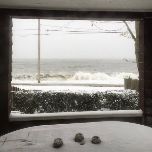 Compo Beach, from the (relative) comfort of a Soundview Drive home. (Photo/Betsy P. Kahn)
