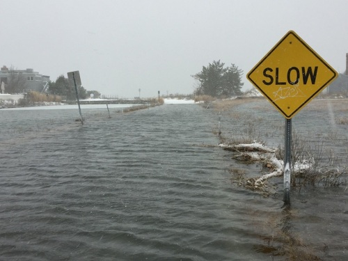 It was slow going -- just as the sign says -- on Saugatuck Shores today. (Photo/Gene Borio)