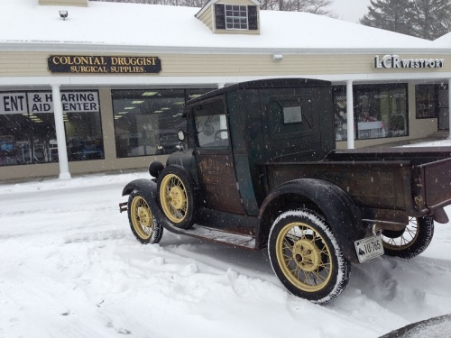 Colonial Druggists is open -- and if you've got an antique car, you can get there! (Photo/Ellen van Dorsten)