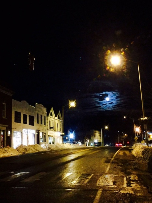 A special nighttime view of the Post Road, looking east. (Photo/Betsy P. Kahn)