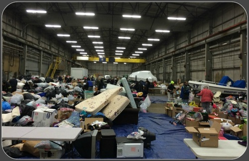 The donation center was a hub of activity. To see what is still needed, read below. (Photo/Sal Gilbertie)