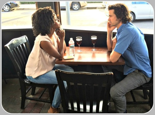 "Andrea Bordeaux and Daniel Hall, filming ""First Date, Last Date."""