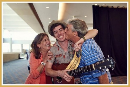 Drew Angus with his parents -- and his golden ticket.