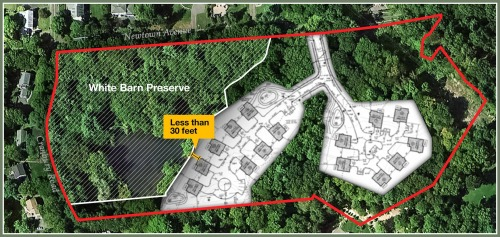 A map showing the proposed 15-home development. Cranbury Road (left) marks the border between Norwalk and Westport. Click on or over hover to enlarge.