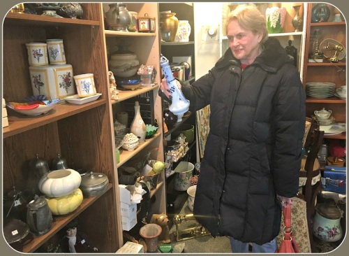 "Westport Woman's Club member (and frequent ""06880"" commenter) Bobbie Herman shops in the Curio Cottage."