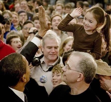 Don O'Day (lower right) with presidential candidate Barack Obama in 2008.