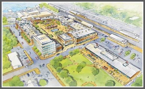 An aerial view of the proposed Railroad Place development. Charles Street (including the office building is at left); the train tracks run diagonally across the top. Click on or hover over to enlarge.