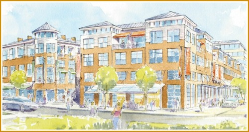 The view across Riverside Avenue, from Tutti's. The buildings in the artist's rendering would replace the current cleaners and adjacent buildings.