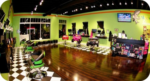 Sharkey's Westport salon is a prototype for the franchise: a kids' paradise.